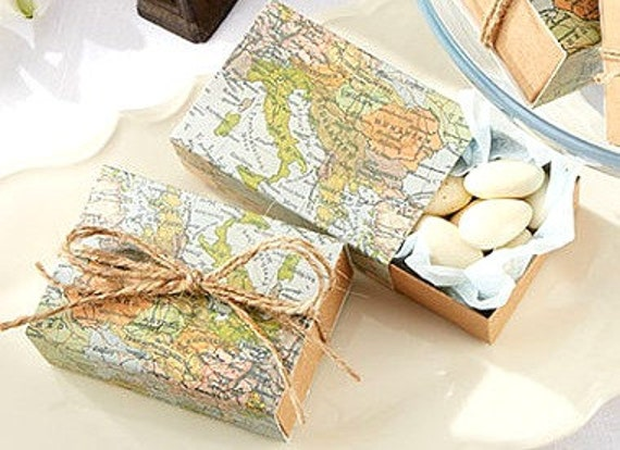 ... Map Favor Boxes Wedding Guest Gifts Favor Box Mint Boxes Favor Box