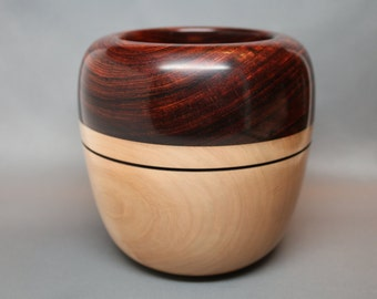 Handmade Wooden Bowl made of the Exotic South American Wood - Cocobolo and Western Figured Maple Wood – Collectible Art, Wedding Gift