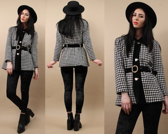 Clearance! 60s 80s Vtg Tweed + VELVET Houndstooth Blazer Jacket / Lolita MOD Dolly Black + White Coat / Pewter HEART Button Belted / Xs - Sm
