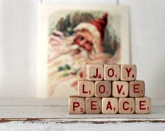 vintage letter cube words JOY LOVE PEACE