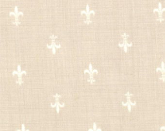 FRENCH GENERAL FAVORITES Moda by the half yard cotton quilt fabric white fleur de lis on pearl cream 13605-20