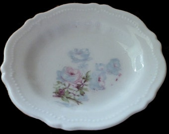 O & E. G. Royal Austria Austrian China Butter Pat Plate Floral Roses Vintage