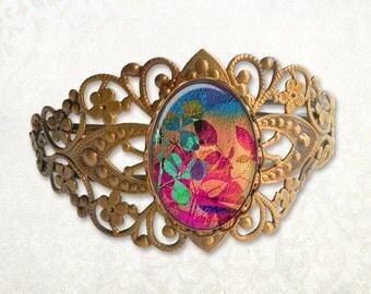 Summer Foliage Antique Bronze Filigree Bracelet