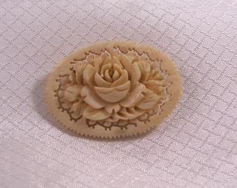 Vintage Hand Carved Victorian Rose Brooch, Carved Bone Brooch, c1950