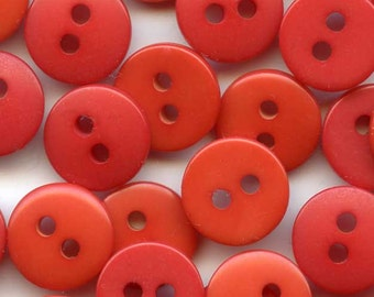 100 Vintage Shades of Red Plastic Sewing Buttons 3/8 inch 10mm Lot Set