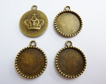 4 cabochon settings, Ø18mm, bronze