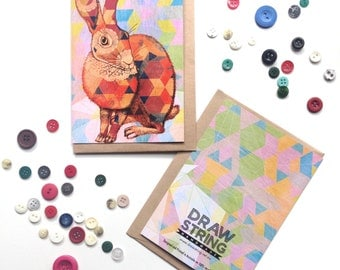 Patchwork Bunny / Rabbit Greeting Card