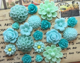 20pcs - Resin Flower Cabochons - Teal