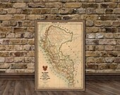 Peru map - Old map of Peru - Giclee map print