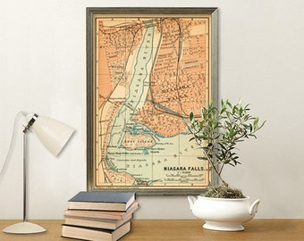 "Niagara Falls map - Old city plan - Map of Niagara Falls - 15 x 22.5"" Print"
