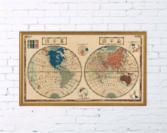 Japanese Map of the world  - Antique world map print - 19 x 33 ""