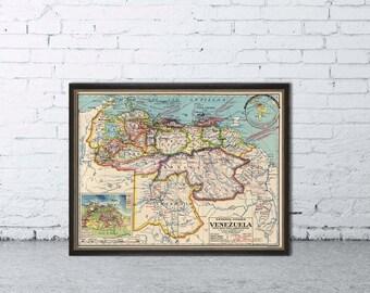 Vintage map of Venezuela - Old map restored - Print for wall decoration