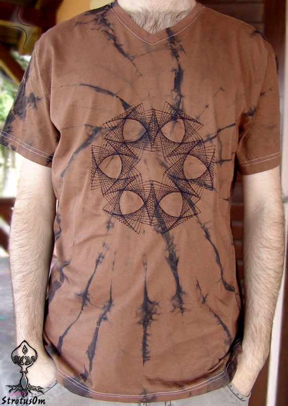 Forest psy t shirt brown string art sacred geometry
