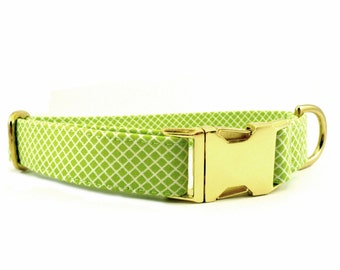 Crisscross Lime Dog Collar