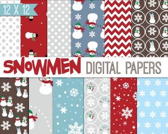 Digital Scrapbook Paper, Snowman, Digital Paper, red, brown, blue, winter digital backgrounds, commercial use ok.