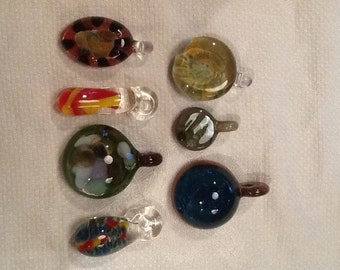 Lamp work pendants, collection of seven lampwork pendants
