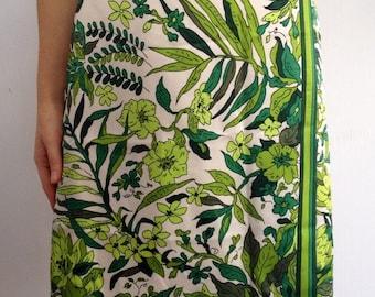 60's 70's Floral Jungle Green Flower Power Skirt