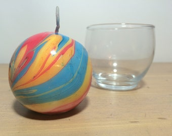 Medium Round Orange Red and Blue Marbled Candle