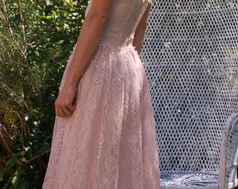 Soft pastel pink, lace ,1970s, bustier,fairy ,dress.