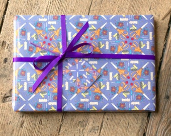 Sewing Wrapping Paper - Purple, Craft, Sew, Giftwrap, Gift Tags - free UK postage