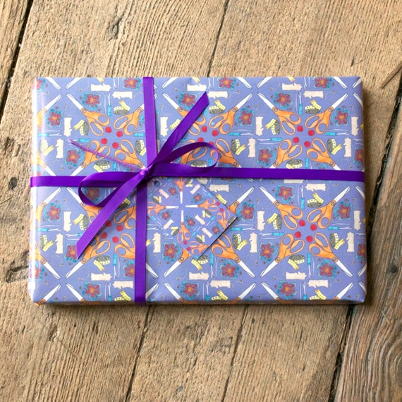 Sewing Room Gift Wrapping Room: Sewing Wrapping Paper Purple Craft Sew Giftwrap Gift