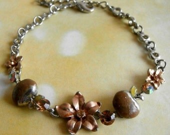 Vintage Silver-tone Apple and Flower Bracelet