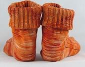 Orange Alpaca Wool Socks Women's Knit Socks-Free Shipping