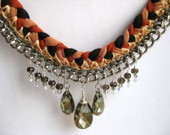 Braided statement necklace in t-shirt yarn in rust and silver, with Swarovski crystals