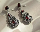 Heritage - deep ruby red garnet gothic victorian style earrings sterling silver intricate wire wrapped OOAK