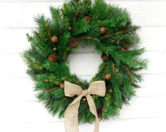 SCENTED PINE-Christmas Door Wreath-Winter Wreath-Holiday Door Wreath-Primitive Christmas Wreath-Holiday Home Decor-Choose Scent and Ribbon
