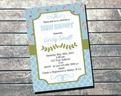 Shabby Chic Baby Shower Invitation PRINTABLE INVITATION - Its a Boy Invitation - Boy Baby Shower - Shabby Chic Decorations