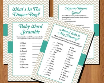 Baby Shower Games INSTANT DOWNLOAD Printable - Grey Chevron Teal - Nursery Rhyme Game - Animal Mommy Game