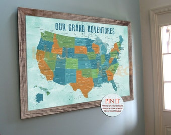 USA push pin map, 20X30 Inches, America Trips, Honeymoon, Rustic Map, Travel Map, Push Pin Travel, Gift for parents, Paper Gift