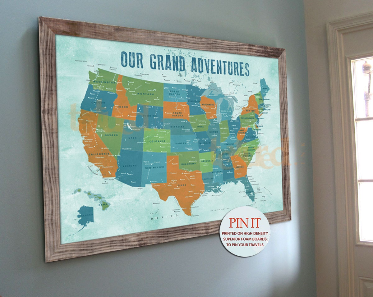 USA push pin map 20X30 Inches America Trips by TexturedINK on Etsy – Pushpin Travel Map