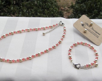 Flower Girl Jewelry Coral Swarovski Crystals and Ivory Pearls Bridal Jewelry Set