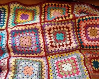 Granny Square Crocheted Lapghan/Blanket 30 ins x 23 inches