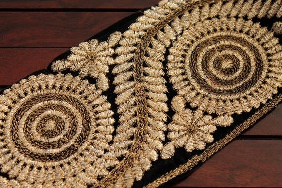 Yard black velvet fabric golden thread embroidered trim silk