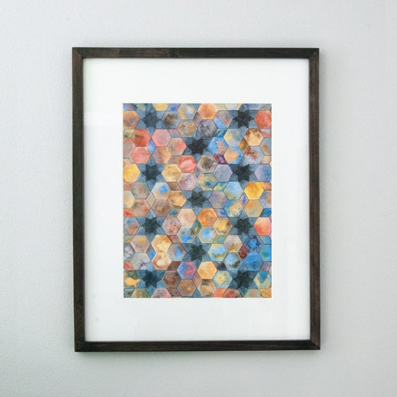Moroccan Pattern 10x14 Original Watercolor Painting Blue