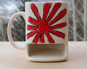 Japan Flag Mug Mount Fuji  Hand Painted Samurai