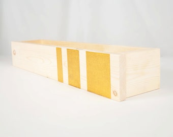 Box Shelf Wall Organizer - Modern Stripe - Rustic Glam - Vertical Garden, Kitchen Shelf, Book, Bathroom Storage - Glitter Metallic - 12 INCH