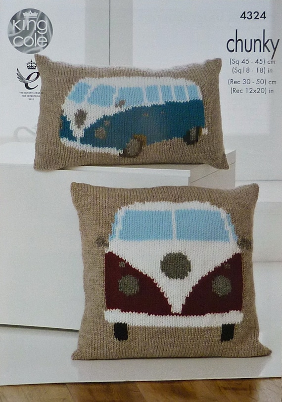 Vw Campervan Knitting Pattern : Cushion Knitting Pattern K4324 VW Campervan Cushions Knitting