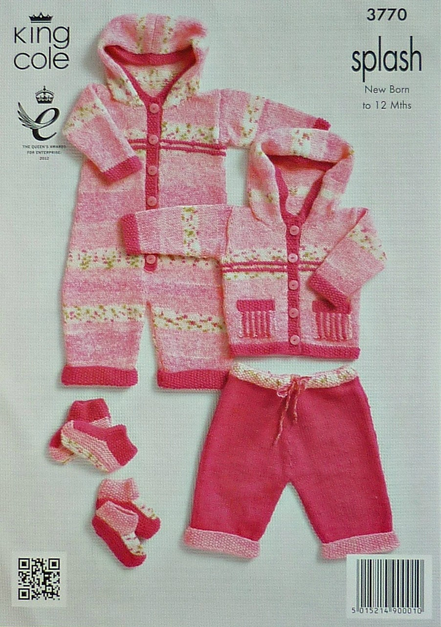 Baby Knitting Pattern K3770 Baby Girls Trousers Jacket Onesie Outdoor set Kni...