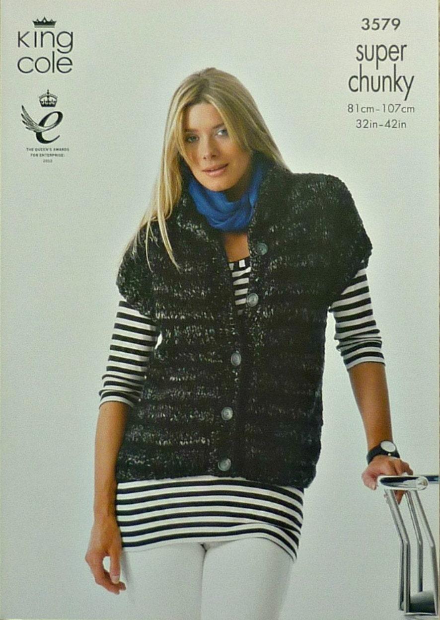 Knitting Pattern Womens Gilet : Womens Knitting Pattern K3579 Ladies Easy Knit Hooded Sleeveless Gilet Knitti...