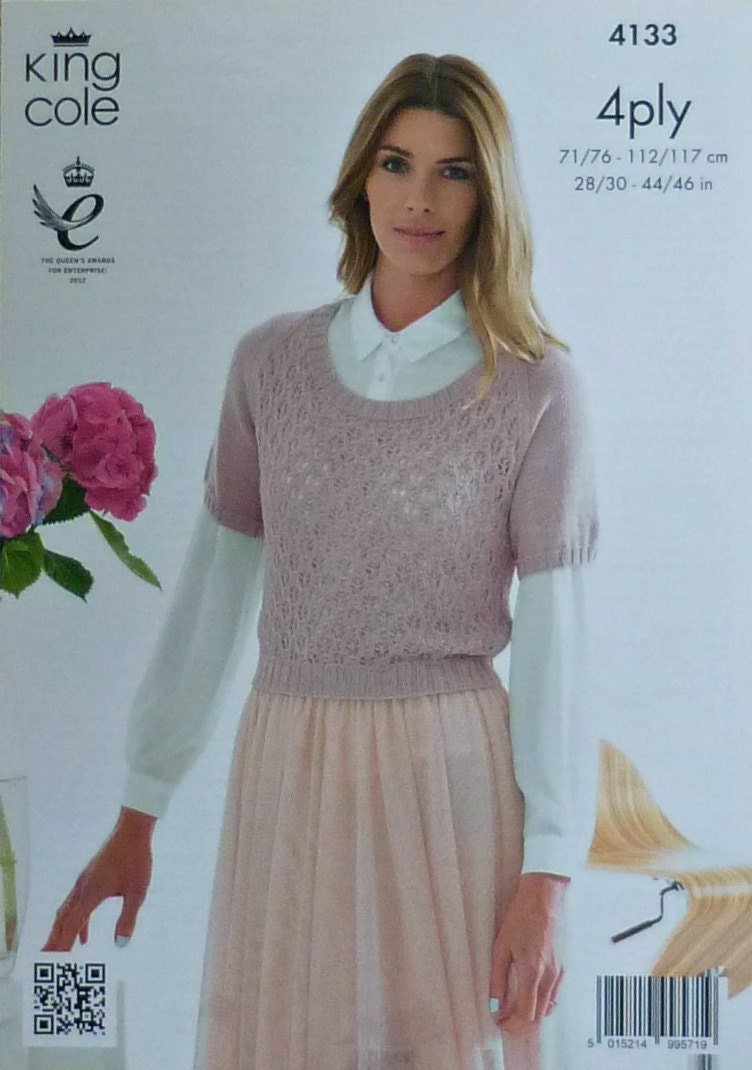 Knitting Pattern Ladies Short Sleeve Jumper : Womens Knitting Pattern K4133 Ladies Short Sleeve Round Neck Lace Front Jumpe...