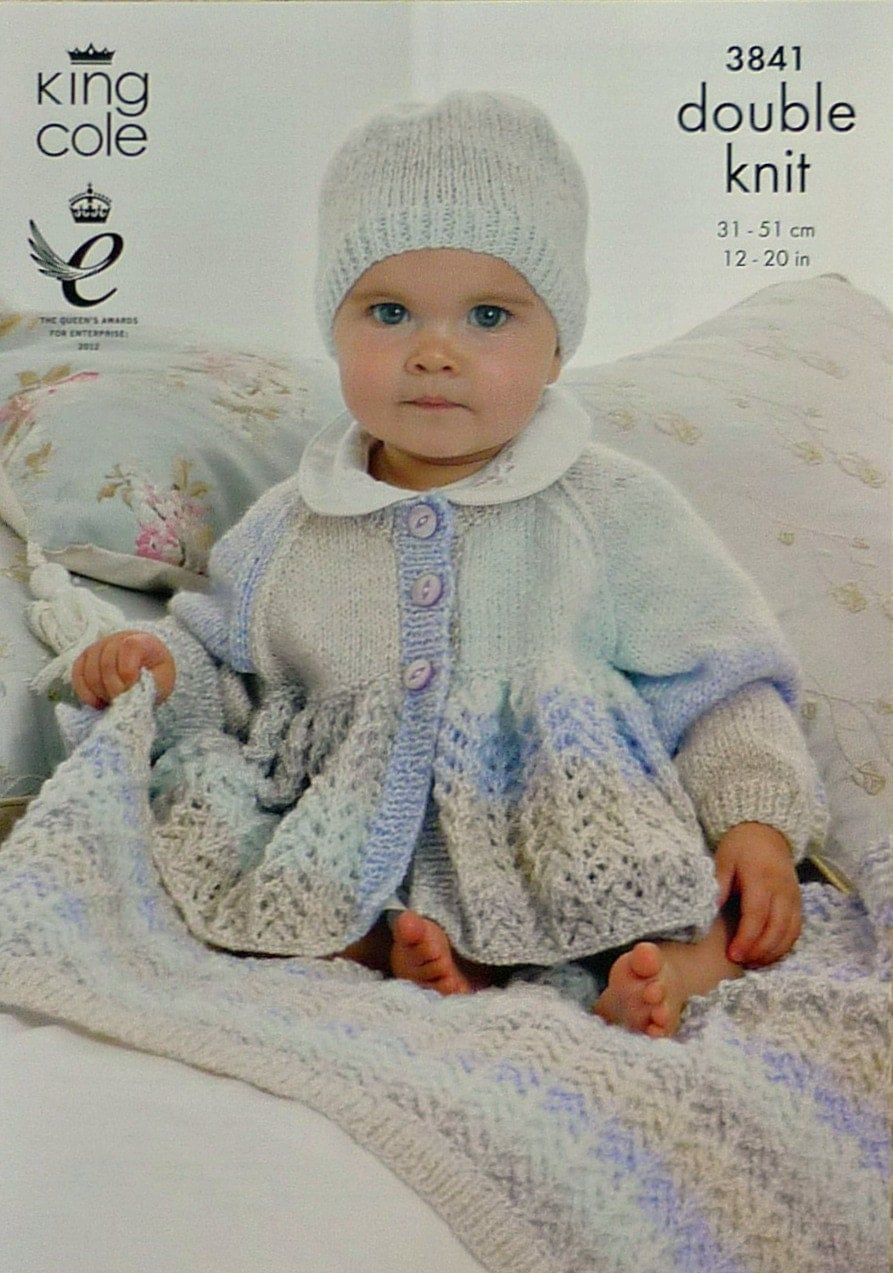 Baby Knitting Pattern K3841 Babies Lacy Cardigan, Blanket and Hat Knitting Pa...