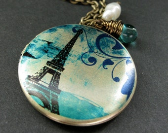 Teal Paris Locket Necklace. Eiffel Tower Necklace. Paris Necklace with Teal Teardrop and Pearl. Eiffel Tower Locket. Handmade Jewelry.