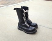 Reserve Made in England Gripfast Black Leather High Top Boots