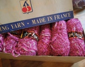 Vintage Yarn Made in France in a Shocking Pink Boucle