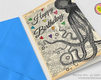 Octopus Happy Birthday Greeting Card-Octopus card-Birthday card-kraken card-Dictionary card-funny card-quote card-by NATURA PICTA NPGC085