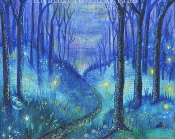 Enchanted Forest- firefly, fairy, woods, print
